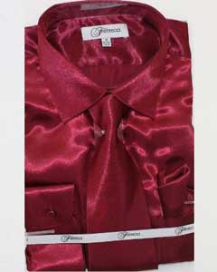 Fer_SH1 Shiny Luxurious Shirt Burgundy ~