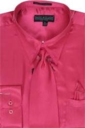 AL421 Fuschia Shiny Silky Satin Dress Shirt/Tie