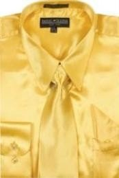 BF770 Gold Shiny Silky Satin Dress Shirt/Tie