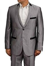 JSM-634 Mens Silver Grey ~ Gray Slim Fit Sharkskin