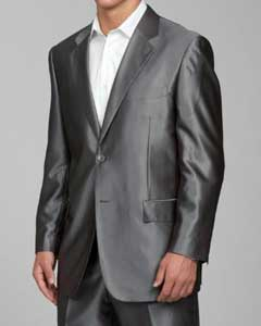 Shiny Flashy Grey 2-button Suit
