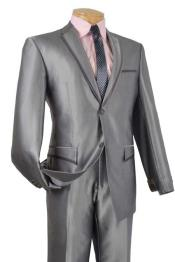 BC-51 Tuxedo & Formal Shiny Flashy Grey ~ Gray
