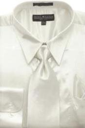 AG442 Ivory Shiny Silky Satin Dress Shirt/Tie