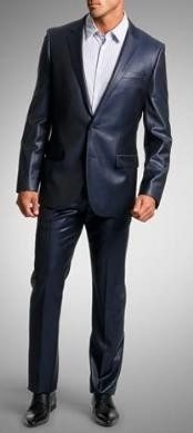 VF2008 Shiny sharkskin Single Breasted Suit Side-Vented Navy Blue