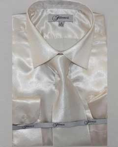 Ivory ~ Cream Shiny Luxurious Shirt Off White