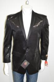 SatinUniqueShinyFashionPromSequinsOneButtonBlazer