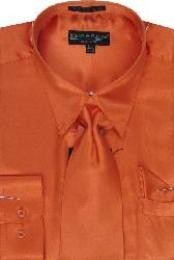UH122 Orange Shiny Silky Satin Dress Shirt/Tie