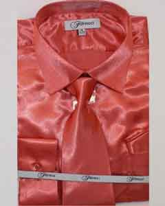 Shiny Luxurious Shirt Coral ~ Peach