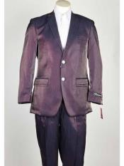 SM1026 Shiny Flashy Notch Lapel Single Breasted Closure Purple