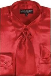 LO712 red color shade Shiny Silky Satin Dress Shirt/Tie