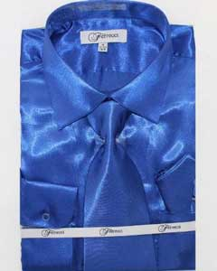 Shiny Luxurious Shirt royal blue pastel color