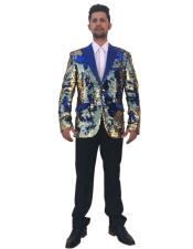 GD1538 Mens Unique Shiny Flashy Fashion Prom Sequin Single