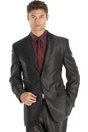 ANA_M118S Shiny sharkskin Single Breasted Suit Side-Vented Liquid Jet