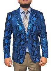 Mens Blue Snakeskin Sequin ~ Unique Shiny Fashion Prom