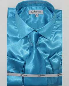 Shiny Luxurious Shirt turquoise ~ Light Blue Stage Party