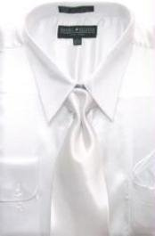AK124 White Shiny Silky Satin Dress Shirt/Tie