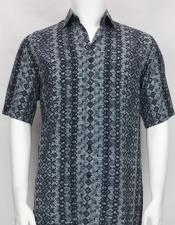 61021 Bassiri Blue button down Short Sleeve diamond pattern