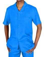 JSM-4618 Mens Two Piece Short Sleeve Blue Linen Casual