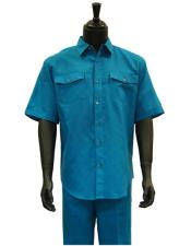 Mens Short Sleeve Blue