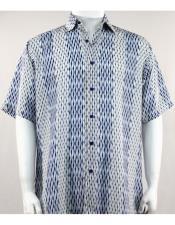 61181 Bassiri Blue/White Short Sleeve mens new pattern fashion