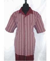 GD1727 Mens 5 Buttons Stripe Pattern Short Sleeve Burgundy