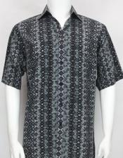 61031 Bassiri button down Short Sleeve diamond pattern mens