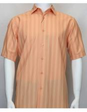 48231 Bassiri Short Sleeve shadow stripe mens fashion Coral