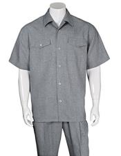 JSM-3663 Mens Casual Short Sleeve Two Pieces Gray Walking