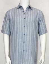 61111 Bassiri Light Blue stripe button down Short Sleeve