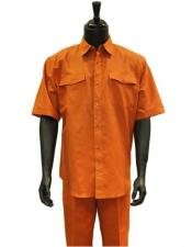 GD1304 Mens Orange Two Piece Short Sleeve Linen Casual