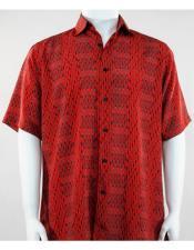61211 Bassiri Short Sleeve button down mens red fashion