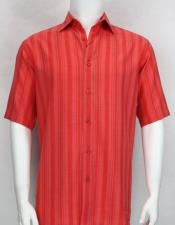 61131 Bassiri stripe button down Short Sleeve mens fashion