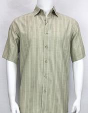 61121 Bassiri stripe button down Short Sleeve mens Taupe