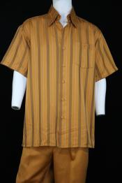 JA142 Mens Suture Stripes Short Sleeve Left Side Pocket