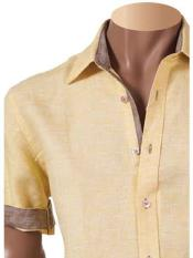 SM804 100% Linen Fashion Shirt Short Sleeve Summer Yellow
