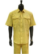 Product#GD1306MensButterLemonYellowLinen2PieceShort
