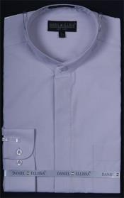 PNA13 Banded Collar Dress Shirt Silver