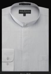 SL607 Basic Banded Collar dress shirts no collar mandarin
