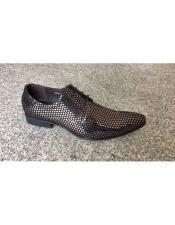 JSM-5550 Mens Silver ~ Black Man Made Texture Dot