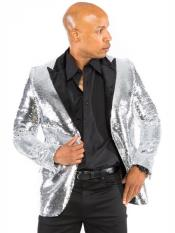 MO430 Prestige Mens 2 Button Sequin Designed Silver Blazer