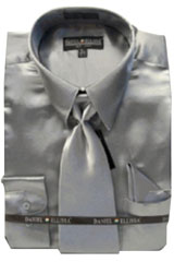 PL222 New Silver Satin Dress Shirt Tie Combo Shirts