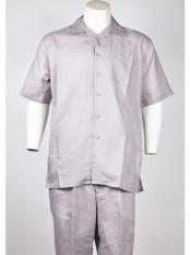 SM947 Men's Silver Short Sleeve Polyester Walking Summer Suit