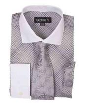 Product#SM1181FrenchCuffSilverMiniPlaid/ChecksDressShirtWith
