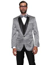Party Entertainer Blazer Black Lapel Black and Silver Suit
