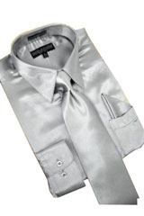 PW782 Satin Silver Grey Dress Shirt Tie Hanky Set