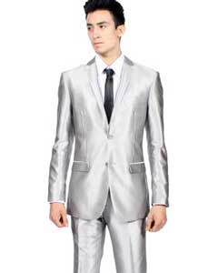 PN_D70 Slim narrow Style Fit Shiny Flashy Silver Tuxedo