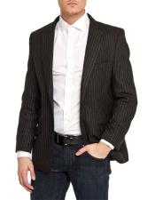 GD1673 Mens Single Breasted Black Slim Fit Pinstripe 1