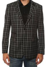 JA167 Ferrecci Mens Plaid Slim Fit Black Blazer Dinner
