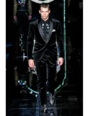 CH2349 Mens High Fashion Black Single Breasted Shawl Lapel