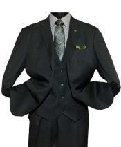 SD204 Mens Notch Lapel Single Breasted Black Two Button
